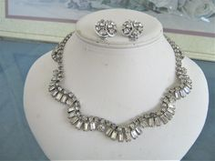 Vintage sparkling Rhinestone Necklace and clip on Earring set  #Unbranded