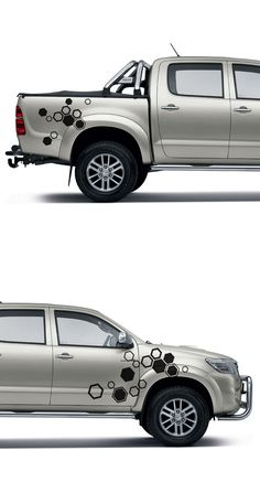 free shipping 2PC hexagon pattern abstract geometric body rear tail side graphic vinyl for TOYOTA HILUX VIGO 2011 decals
