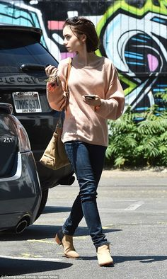 Lily Collins looks beautiful in beige as she heads to Mao's Kitchen in Hollywood for a lunch date | Daily Mail Online