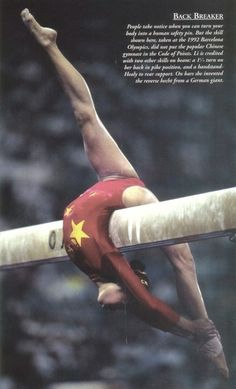 people take notice when you can turn your body into a human safety pin. but the skill shown here, taken at the 92 olympics, did not put the pop chinese gymnast in the code of points.