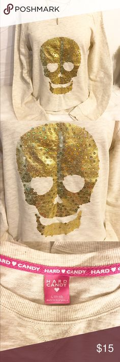 Comfy sweater Comfy cream sweater, with a sparkly ✨ sequined skull 💀 tag was ripped off but it's never been worn! Hard Candy Sweaters Crew & Scoop Necks