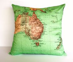 cushion cover map pillow AUSTRALIA NEW ZEALAND by mybeardedpigeon, $55.00