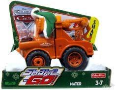 """Disney Pixar Cars Shake N Go Limited Edition Mater in Winter Attire by Fisher Price. $31.99. Vehicle approx. 5½"""" L x 3½"""" W x 2½"""" H.. Limited Edition Christmas Shake N Go Mater in Winter Attire. Ages 3+. Shake it up, let it go, and watch it race. Races up to 20 feet (6m). Mater is a good ol' boy with a big heart and the only tow truck in Radiator Springs. Does Mater really save Christmas, or is he just telling another tall tale to get everyone revved up for the holid..."""
