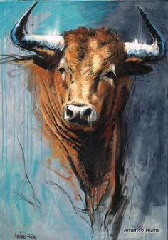 Watercolor Animals, Watercolor Art, Bull Skull Tattoos, Bull Painting, Cow Art, Southwest Art, Painting Wallpaper, Wildlife Art, Animal Paintings