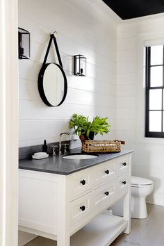 Modern farmhouse bathroom with ship lap walls, white vanity, black counter and natural fiber accents. Bad Inspiration, Bathroom Inspiration, Furniture Inspiration, Bathroom Renos, Master Bathroom, Bathroom Black, Remodel Bathroom, Shiplap Bathroom, White Bathrooms