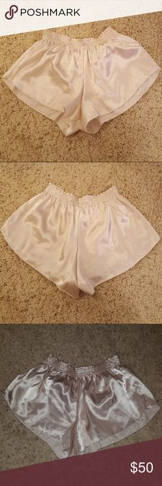 SUPER RARE! BRANDY MELVILLE JOHN GALT SATIN SHORTS Super rare, don't think anyone else on Posh has them. Worn once for a moment, unbelievably cute/sexy. Color is hard to describe, basically a light gold. Some of those photos are with flash. 100% rayon  💖Five star seller!  ❤️Same day shipping!  💛Feel free to ask questions! 💚Make an offer! 💙Bundle and I'll shoot you an offer! 💜Discounts for bundles! 🖤Free stickers/gifts with every purchase! Brandy Melville Shorts