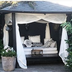 Would you add a cabana in your backyard? Shared by /skovbon/ Backyard Cabana, Outdoor Cabana, Pool Cabana, Backyard Retreat, Outdoor Areas, Outdoor Rooms, Outdoor Living, Outdoor Decor, Gazebos
