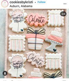 Iced Cookies, Royal Icing Cookies, Cake Cookies, Sugar Cookies, Cupcake Cakes, Gold Birthday, 21st Birthday, Birthday Celebration, Birthday Parties