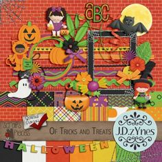 Of Tricks and Treats - a bright, fun Halloween themed digital scrapbooking kit that's perfect for layouts of Halloween parties, trick-or-treating, and pumpkin carving.