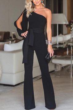 Stylish One Shoulder Slit Sleeve Jumpsuit - Herren- und Damenmode - Kleidung Trend Fashion, Fashion Women, Fashion Online, Fashion Ideas, Fashion 2018, Fashion Fashion, Fashion Stores, Fashion Sewing, Fashion Black