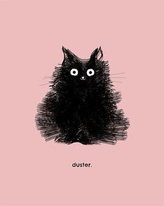 Black Cat Art Print Illustration Cute Cat by TheLonelyPixel