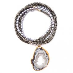 druzy-slice-pearls-pyrite.jpg  Gold & Gray $295 38""