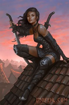 Art Drawings - Assassins on the Roof - Twilights End Cover by Bob . - Art Drawings – Assassins on the Roof – Twilights End Cover by Bob … – # Assassin… - Fantasy Warrior, Fantasy Girl, Fantasy Art Women, Warrior Girl, Dark Fantasy Art, Fantasy Artwork, Fantasy Inspiration, Character Inspiration, Fantasy Characters