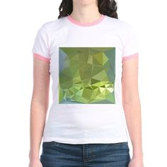 Olive Drab Abstract Low Polygon Background T-Shirt