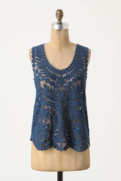 Gossamer Birch Shell - Anthropologie. If only they carried this in white... Looking for a lace shell to layer.