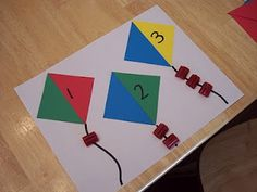 Kite Math and Snack. Could have them glue pieces of ribbon instead of a snack for more glue practice