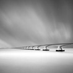 The formal longest bridge in The Netherlands (so called The Zeeland Bridge). Nikon, Gitzo, Arca Swiss, Lee filters. Long exposure (90 sec. at f/11). Bridge, image by Cees Maas. Image #500038