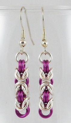 Silver & Amethyst Byzantine Earrings by TheAlaskanMailleMan