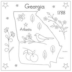 Georgia embroidery pattern - $0.75 ~ Patterns for other states are available.