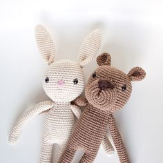 ༺༺༺♥Elles♥Heart♥Loves♥༺༺༺ ........♥Crochet Amigurumi♥........ #Amigurumi #Patterns #Crochet #Softies #Childrens #Toys #Handmade #Teddy #Doll #Tutorial #Patterns #Collectable~ ♥Tiny Happy Fox Designs Bear And Rabbit Duo