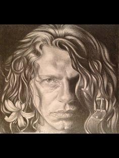 Portrait of Michael Hutchence, graphite, by Lydia Quayle