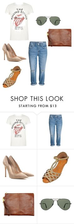 """band t shirt"" by classykate on Polyvore featuring River Island, Gianvito Rossi and Ray-Ban"
