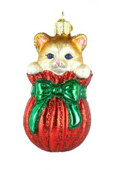 Old World Christmas Letting The Cat Out Of The Bag Glass Ornament. #Christmas #NewYear #Ornament #Decor #giftidea #Gift #gosstudio .★ We recommend Gift Shop: http://www.zazzle.com/vintagestylestudio ★