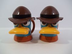 2 - DISNEY LIVE! Perry The Platypus Phineas & Ferb Handled Cup/Mug w/ Hinged Lid #Disney