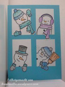Frosty Friends  Lawn Fawn  Winterkarte, Karte, eisig, Schneemann, Schneemänner coloriert mit Aquarellstiften