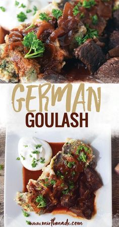 German goulash is one of my favorite foods of all time. It's hearty, its filling and while I will eat it any time of year cold and/or rainy days are the best for this sort Goulash Recipes, Meat Recipes, Dinner Recipes, Cooking Recipes, Healthy Recipes, German Recipes Dinner, Recipies, Dinner Ideas, Chicken Recipes