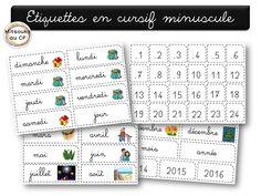 Etiquettes du rituel d'entrée en classe SANS majuscule aux noms des jours, version scripte et cursive.