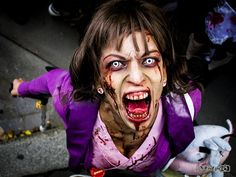 Zombie contact lens tips from costume expert, Rain Blanken. - Real and Horrifying Zombie Makeup Tricks Cat Eye Contacts, Halloween Contacts, Cat Makeup, Makeup Tips, Contact Lenses Tips, Zombie Makeup Tutorials, Amazing Halloween Makeup, Halloween Ideas, Halloween Crafts