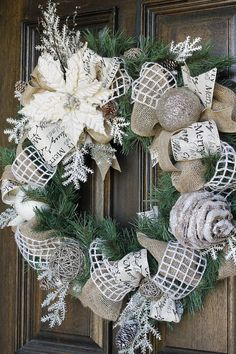 Christmas wreath, Burlap wreath, poinsettia wreath, Shabby Chic wreath