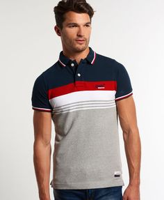 Shop Superdry Mens Retro Chest Stripe Pique Polo Shirt in Eclipse Navy/red. Buy now with free delivery from the Official Superdry Store. Polo Shirt Design, Polo Design, Men Design, Polo Shirt Outfits, Polo T Shirts, Sport T-shirts, Men Store, Summer Stripes, Camisa Polo