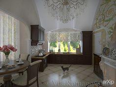 загородный дом: интерьер, зd визуализация, квартира, дом, кухня, классицизм, ампир, неогрек, палладианство, 30 - 50 м2, интерьер #interiordesign #3dvisualization #apartment #house #kitchen #cuisine #table #cookroom #classicism #30_50m2 #interior arXip.com