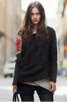 sweater with rose crocheted shoulder.