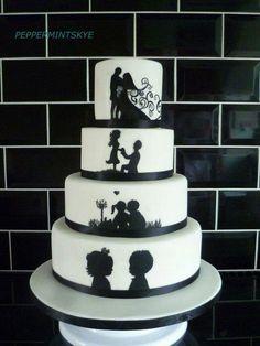 Wedding cake idea, just black and white.