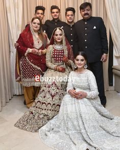 Awesome Photos of Aiman khan with her Parents and Siblings on her Wedding Day Pakistani Wedding Outfits, Pakistani Bridal Dresses, Pakistani Dress Design, Pakistani Wedding Dresses, Bridal Outfits, Pakistan Wedding, Indian Designer Suits, Designer Wear, Aiman Khan