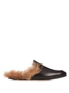e4e49e45598 Princetown fur-lined leather backless loafers