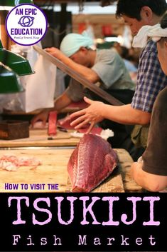 Our tips and advice on how to visit Tsukiji Fish Market can be used by any type of traveler. Tsukiji Fish Market is all business. Everyone is hustling. Knives are carving, carts are rolling and people are carrying huge boxes this way and that. Read our tips on How to Visit the Tsukiji Fish Market with Kids or on your own | Japan Travel | Japan Family Travel | Tuna auction | Japan travel | Tokyo travel | family travel | sushi | sashimi | food travel | sushi in japan