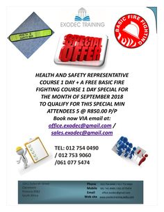 Promo for September. Exodec Training your Number 1 Partner when it comes to Safety, contact us now to book for all your Occupational Health and Safety Training Requirements. Where Safety Matters Tel: 012 754 0490 Safety Topics, Safety Training, Health And Safety, September, Things To Come, Number, Book, Book Illustrations, Books