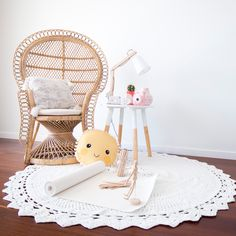 Crochet Rug | Throw | Fan'say | White – AU FAIT LIVING Dream House Plans, Cotton Crochet, Hanging Chair, Wicker, Mid-century Modern, Accent Chairs, Kids Room, Carpet, Comfy