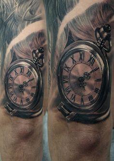 Artist-Przemek (shamack) Malachowski #tattooblackpool #pocketwatch #wachtattoo #pocketwatchtattoo #halfsleevetattoo