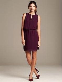Love this color for Fall. Zip-Front Dress | Banana Republic