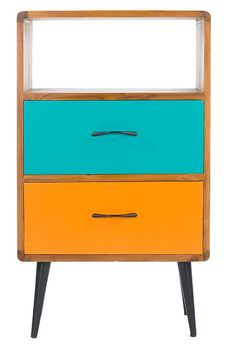 Libra Company - Teak 'Comet' painted two drawer cabinet.