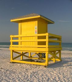 Lifeguard stand at Siesta Key Beach on Siesta Key in Sarasota, Florida.