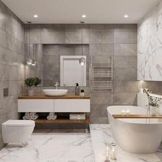 Bathroom suggestions, master bathroom remodel, bathroom decor and bathroom organization! Master Bathrooms can be beautiful too! From claw-foot tubs to shiny fixtures, they are the master bathroom that inspire me probably the most. Bathroom Wall Decor, Bathroom Layout, Modern Bathroom Design, Bathroom Interior Design, Bathroom Ideas, Bathroom Organization, Minimal Bathroom, Bathroom Storage, Bathroom Cabinets