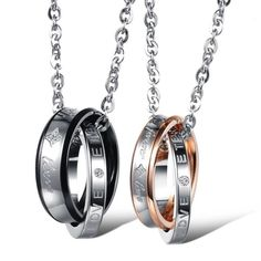 "2 His & Hers Forever Love Ring Necklaces Brand new Price firm No trades I do bundle  Stainless Steel metal Chain: Male 24"" or 30"" Female 24"" or 18""  ~Both 2MM rings engraved ""Endless Love"" ~Both Male 6MM & Female 4MM ~Engraved on both rings ""Forever Love""   Stone: Cubic Zirconia (CZ Diamond) Carat weight: 0.25ct Cut: Round Brilliant  Price is for both rings~ Gift Box Included ~   Please comment chain sizes Jewelry Necklaces"