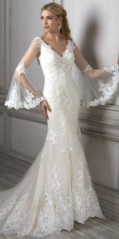 Junoesque Tulle V-neck Neckline Mermaid Wedding Dress With Beadings & Lace Appliques