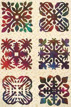 Beautiful and basic patterns for Hawaiian quilting.